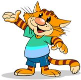 Cat pointing. A cartoon illustration of  striped red cat with pointed arm Stock Images