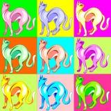 Cat Pop Art Rainbow Colors Royalty Free Stock Photos