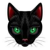 Cat Portrait negra con los ojos verdes aislados en el ejemplo blanco del vector stock de ilustración