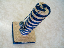 Cat Post. Sisal Rope Cat post - view looking down upon stock image