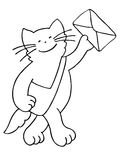 Cat postman with envelope and bag Royalty Free Stock Photography