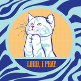 Cat Pray vektor abbildung