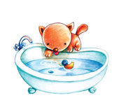Cat prepares bath. A cute cat prepares a bath with a duck toy in it stock illustration
