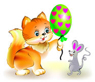 Cat presents mouse a balloon. Royalty Free Stock Photo