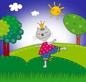 Cat princess. Cartoon character Stock Images