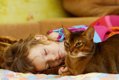 Cat protects dream of child. Little girl sleeps on bed, and near to it cat guards its rest Royalty Free Stock Photography