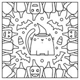Cat with pumpkins. Coloring page. Vector illustration. Cat with pumpkins. Coloring page. Black and white vector illustration Stock Image