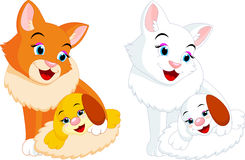 Cat and puppy cartoon Stock Photography