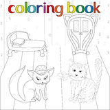 Cat and in room for coloring book Royalty Free Stock Photography