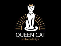 Cat Queen logo design on black background Stock Images