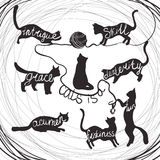 Cat quotes calligraphy lettering set on black cats silhouette Stock Photos