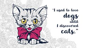 Cat with quotes in floral background doodle for adult stress release coloring page. Hand drawn cat doodle for adult stress release coloring page Royalty Free Stock Photography