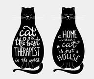 Cat quotes lettering set on cats silhouette Royalty Free Stock Images