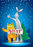 Cat_and_rabbit. New Year greeting with hitch-hiking cat and rabbit Stock Images