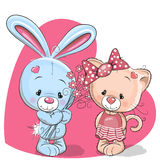 Cat and rabbit. Cute Cartoon Cat and rabbit on a heart background Royalty Free Stock Images