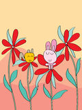 Cat rabbit flower background Stock Image