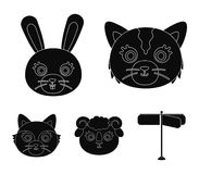 Cat, rabbit, fox, sheep. Animal`s muzzle set collection icons in black style vector symbol stock illustration web. Cat, rabbit, fox, sheep. Animal`s muzzle set Stock Image