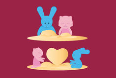 Cat and Rabbit Royalty Free Stock Images