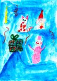 Cat, rabbit and snowman rejoice the present, child drawing royalty free illustration