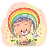Cat with rainbow. Cute Cat with rainbow and flowers royalty free illustration