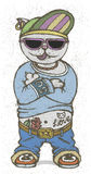 Cat rapper. Vector illustration Royalty Free Stock Image