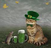 Cat and rat celebrate Saint Patricks Day Stock Image
