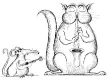 Cat and rat playing music in cartoon style Royalty Free Stock Photo
