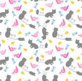 Cat&Rat Seamless Pattern Stock Photography