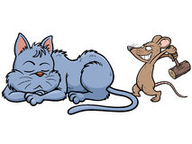 Cat and rat. Vector illustration of cartoon Cat and rat playing Royalty Free Stock Image