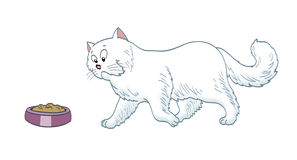 Cat reaching her food. Cartoon style cat reaching her food illustration Royalty Free Stock Photo