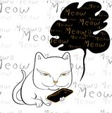 Cat reading smartphone vector. Cat reading smartphone on seamless background with handwriting text vector illustration Stock Photography