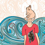 Cat realistic. Illustration abstract realistic real image cat hand drawing cat design Stock Image