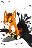 Cat red crow fight character cartoon style  illustration Stock Photography