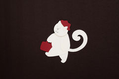 Cat with red hat applique Royalty Free Stock Images
