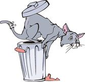Cat and refuse bin cartoon Stock Image