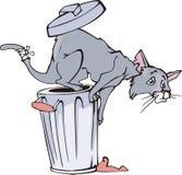 Cat and refuse bin cartoon. Cartoonial cat jumping from a refuse bin. Vector vinyl-ready EPS illustration Stock Image