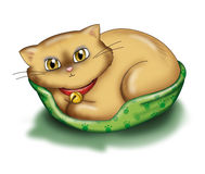 Cat relaxing. A cat is relaxing in his basket. Digital illustration royalty free illustration