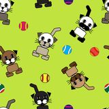 Cat repetitions. Seamless wallpaper with cartoon cats Royalty Free Stock Photos