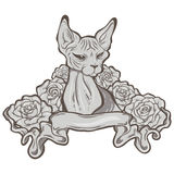 Cat with ribbon and roses Stock Photos