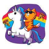 Cat Riding a Unicorn - funny cat