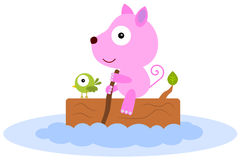 Cat in a river. Illustration of a cute cat with a bird riding a log and sailing in a river Royalty Free Stock Images