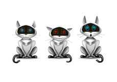 Cat robot, funny toy with different emotions, illustration vector illustration