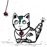 Cat robot is going to play with a rope. Cute cat robot is going to play with a rope Stock Photography