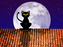 Cat on the roof in the moonlight Stock Photos