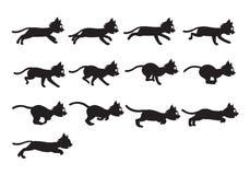 Cat Running Sprite nera Immagine Stock