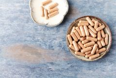 Cat`s Claw Uncaria tomentosa  Extract Capsules. A Dietary Supplement. Immune System Support. Rustic wooden background. Top view. Copy space stock photo