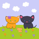 The cat`s family Stock Image