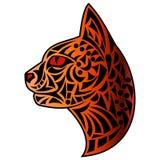 Cat`s head tattoo 1. Beautiful tattoo painteed cat`s head orange color vector illustration Stock Photography