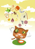 Cat's Imaginations. Cat imagining all kinds of food Royalty Free Stock Image