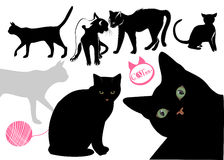 Cat's life background. Vector drawing of the cats - for flash or other design Royalty Free Stock Images